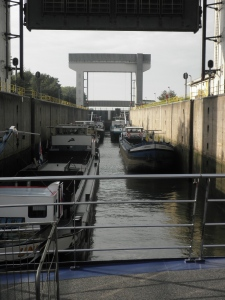 Entering one of the many locks on the river