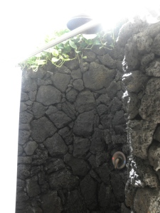 lava rock shower in the spa