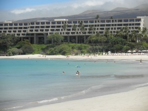looking at the Mauna Kea resort from the public beach