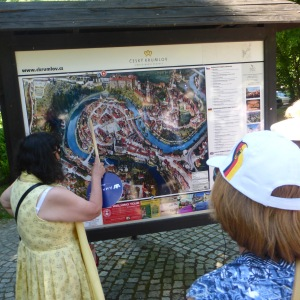 Our tour guide with a map of Cesky Krumlov
