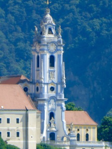 the beautiful white and blue church in Durnstein