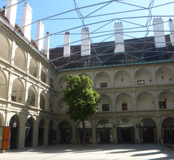 the courtyard at the Spanish Riding School