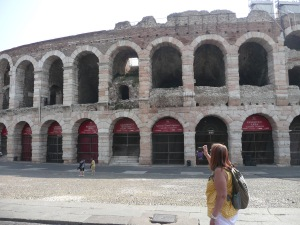 A surprise finding this in the Piazza Bra in Verona. We didn't know that they had a Coliseum.
