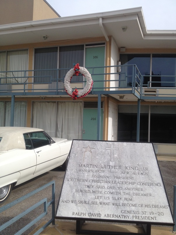 The Lorraine Hotel with a wreath on the spot where Martin Luther King, Jr was assassinated