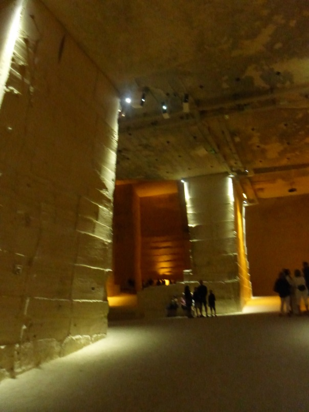 interior of the quarry before the images are projected on the surfaces